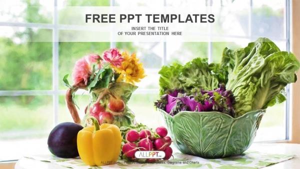 Descargar Presentaciones plantillas powerpointIlustración de acuarela con vegetales