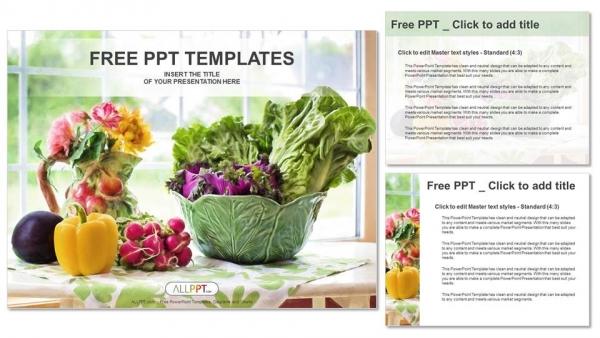 Diapositivas plantilla powerpointIlustración de acuarela con vegetales