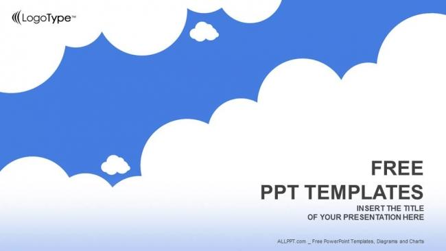 Diapositivas plantilla powerpointNubes blancas con azul