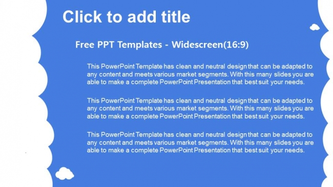 Powerpoint para presentacionesNubes blancas con azul