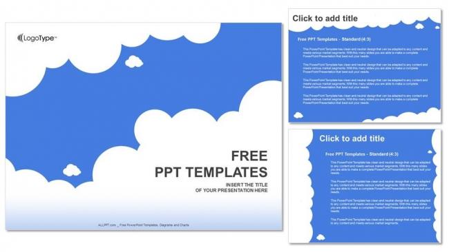 Presentaciones plantilla powerpointNubes blancas con azul