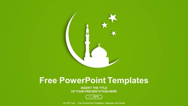 Presentaciones plantilla powerpointSilueta blanca de la Mezquita en la luna