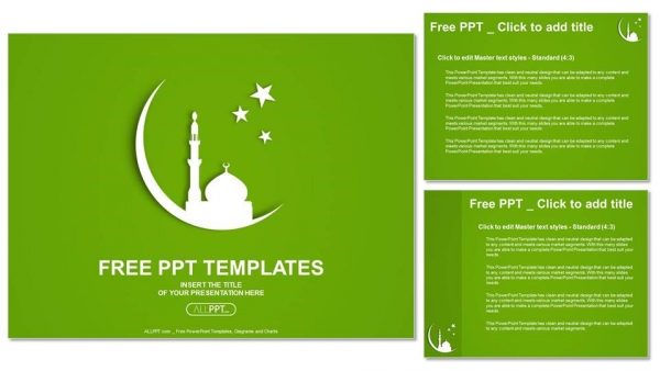 Descargar Presentaciones plantillas powerpointSilueta blanca de la Mezquita en la luna