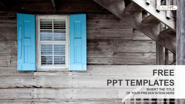 Plantilla Powerpoint: Ventana de madera