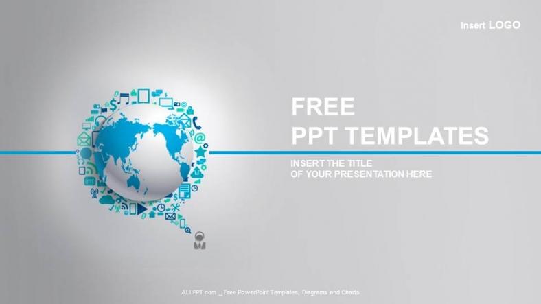 Diapositivas plantilla powerpointIcono de World Globe With App