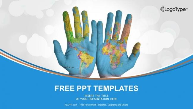 Plantilla Powerpoint: Mapa del mundo en las manos