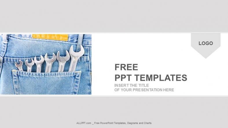 Presentaciones plantilla powerpointPaquete de llaves en el bolsillo del ingeniero