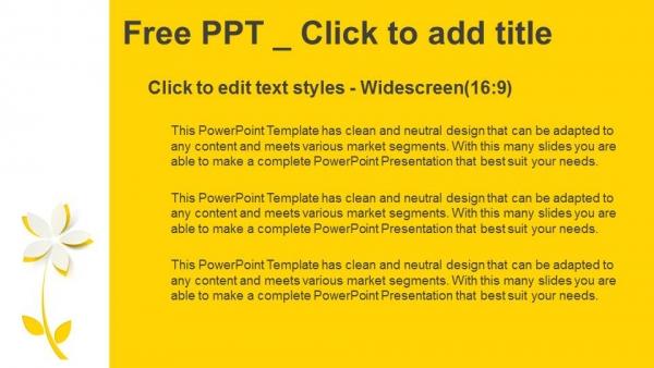 Diapositivas plantilla powerpointFlor de papel recortado amarillo