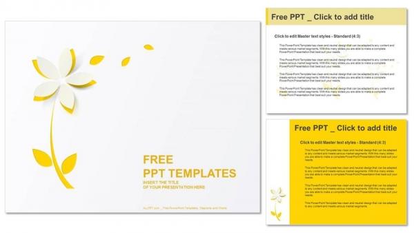 Powerpoint para presentacionesFlor de papel recortado amarillo