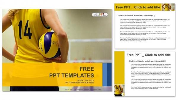 Descargar Presentaciones plantillas powerpointNiña joven sosteniendo voleibol