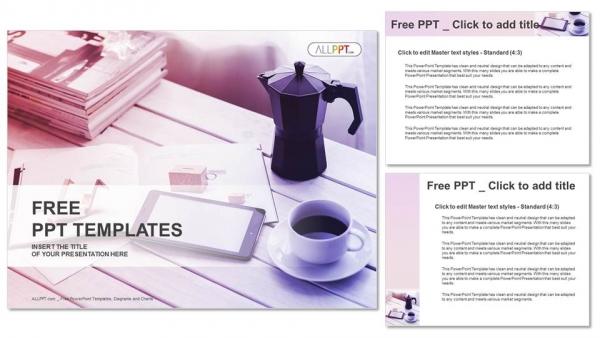 Presentaciones plantilla powerpointTaza de café y teléfono inteligente