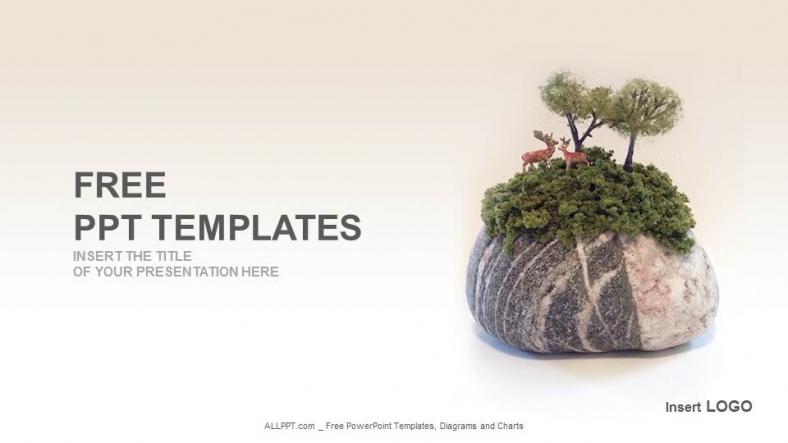 Plantilla Powerpoint: Composición piedra y ciervos