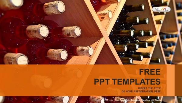Powerpoint para presentacionesbotellas de vino apiladas en estantes de madera