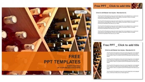 Descargar Presentaciones plantillas powerpointbotellas de vino apiladas en estantes de madera